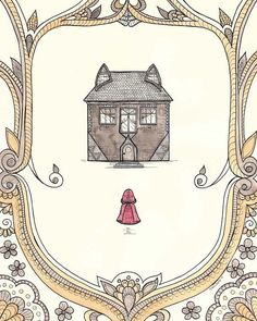 Such a cute print!  I can't decide if the house is adorable or menacing, but I like it nevertheless!  :)