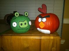 Angry birds pumpkins. I used acrylic paint and foam sheets. Really easy to do and the kids will love it!