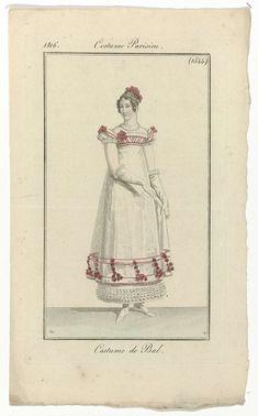 Pierre Charles Baquoy   Journal des Dames et des Modes, Costume Parisien, 20 février 1816, (1544): Costume de Bal., Pierre Charles Baquoy, Pierre de la Mésangère, 1816   Vrouw gekleed in een kostuum voor een bal. De baljapon heeft korte pofmouwen, vierkante hals en hoge taille. Het lijfje en de zoom zijn versierd met rood band en bloemen. Onder de doorzichtige rok is een onderrok zichtbaar, bij de zoom versierd met ruches. Haarband en bloemen in het haar. Verdere accessoires: oorbel in het…