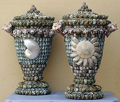 Beach House, Nautilus Handled Urns. Pretty color combo