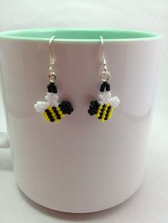 Tiny Bumble Bee Brick Stitch Earrings by BeadingBeeCreations, $10.00