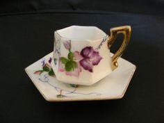 Tiny Hexagon Handpainted Demi-tasse Cup & Saucer