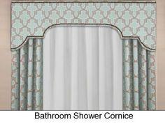 Custom Bathroom Shower Cornice Board Pelmet Box with Decorative Curtain Panels- Shower Curtain Toppe Pelmet Box, Window Cornices, Window Coverings, Window Shutters, Home Curtains, Custom Curtains, Valance Curtains, Valances, Gypsy Curtains