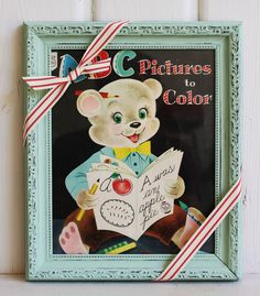 Vintage Nursery Framed Print ABC Bear Coloring Book Vintage Baby Shower Gift, Shabby Chic Nursery Decor by BygoneCharm on Etsy Vintage Nursery Decor, Chic Nursery, Nursery Frames, Shabby Chic Frames, Colorful Pictures, Chalk Paint, Baby Shower Gifts, Coloring Books, Framed Prints