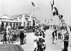 In front of the Olympic Village, Olympic Games of Los Angeles in 1932.
