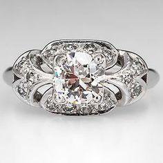 Perfect, favorite. Not square art deco, J color. Antique 1930's Engagement Ring Old Euro Diamond Platinum - EraGem