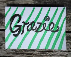 Louise Norman Studio: Grazie Thank You Linocut Card - Italian Thanks Typography Pattern Stripes Italy