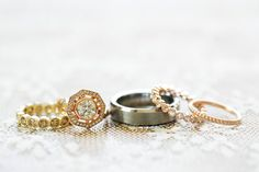 Beautiful vintage style mixed metal ring stack gold rose gold wedding rings Photography: Caroline Tran - www.carolinetran.net Read More: http://stylemepretty.com/2013/09/27/chinoiserie-inspired-wedding-from-caroline-tran/