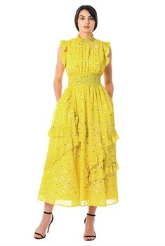 Ruffle floral print georgette smocked dress-CL0056532