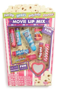 Lotta Luv 'Movie Mix' Lip Balm Set available at Chapstick Lip Balm, Eos Lip Balm, Tinted Lip Balm, Lip Balms, Candy Lips, Flavored Lip Gloss, Nice Lips, Makeup Kit, Makeup Bags