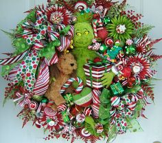 Grinch wreath Christmas wreath Holiday wreath by WreathsbyKimberly,