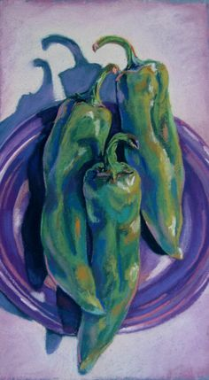 Green Chili Peppers on a Purple Plate - part of my Taos, NM art show - Flying Shoes Art Studio