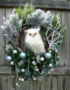 HUGE Winter Wonderland Snow Owl Christmas Wreath, blue, silver, white, White…