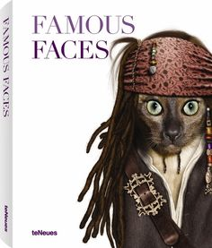 Jack Sparrow the Cat on the cover of the Famous Faces Book   - Based on the hilarious art of Takkoda which features pets dressed as famous pop icons on pillows, journals and greeting cards, Famous Faces features the all those photographs in one book.