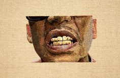 "Daniel Kornrumpf, no mold gold teeth (detail), 2013, 42"" x 36"", hand embroidered on linen"