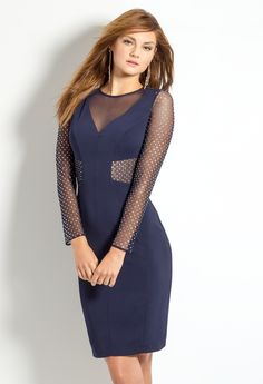 Beaded Illusion Long Sleeve Homecoming Dress #camillelavie