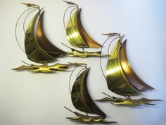 Brass Copper Metal Wall Art Sailboats Boats Mid Century Modern Jere Demott Eames | eBay
