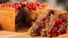 Nut Roast Pie with Cranberries.