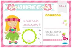 {Birthday} Les invitations tropicales à imprimer! Free printable Aloha birthday invitation & tag Printable Invitations, Centerpieces, Reception, Map, Birthday, Party, Tropical Party, Greater Flamingo, Two Year Olds