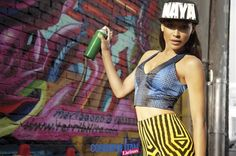 Naya Rivera mixing prints in Cosmo Latina