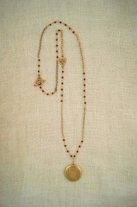 Vintage Necklace with semi precious carnelian stones and vintage locket by ExVoto Vintage jewelry. www.exvotovintage.com