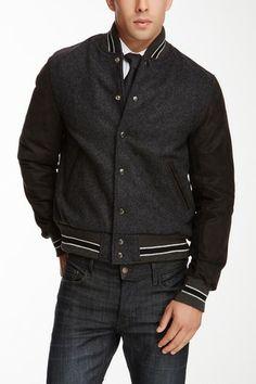 Slater & Son Charcoal Wool Blend Leather Sleeve Varsity Jacket on HauteLook