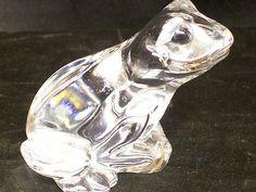 Glass Frog Princess House Pets 24% Lead Crystal Czech Republik Original Sticker
