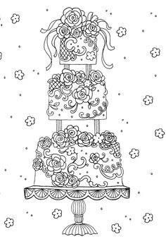 Cake Printable Adult Coloring Page From Favoreads Coloring Book