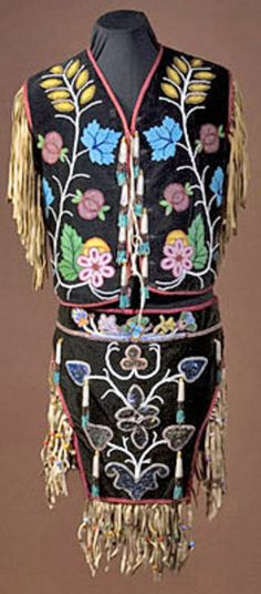 native american, America, A Chippewa beaded dance costume, includes a vest and triangular breech cloth, with typical beaded floral designs o...