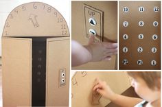 Cardboard Box Elevator with Push Buttons