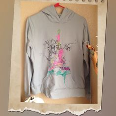 F21 Paris Eiffel Tower Hoodie Brand: Forever 21 Size: Large Paris Eiffel Tower Hoodie all distress edge was factory made. Forever 21 Sweaters