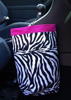 Car Trash Bag ZEBRA and PINK, Women, Car Litter Bag, Auto Accessories, Auto Bag, Car Organizer