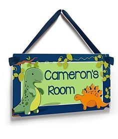 Name Plaque for Boys Bedroom Blue and Green Cute Dinosaurs Theme >>> Continue to the product at the image link. (Note:Amazon affiliate link)