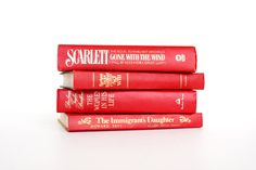 Scarlet Book Collection - Bright Red Books - Decorative Book Decor - Valentine Decor - Red and Gold - Scarlett - Minimalist Red Books, I Love Books, Scarlet Book, Valentine Decorations, Book Collection, Valentines, Bright, Unique Jewelry, Handmade Gifts