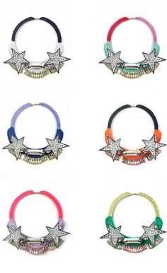 FN250-WHT FN250-TUR FN250-BLU FN250-ORG FN250-PUL FN250-GRN FN250-GRY FN250-BLK    Necklace with swarovski crystal - neon yellow  Crochet wool