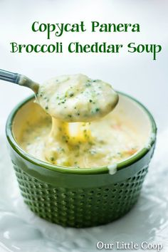 Copycat Panera Bread Broccoli & Cheddar Cheese Soup by kisercl Copycat Recipes, Soup Recipes, Great Recipes, Cooking Recipes, Favorite Recipes, Broccoli Recipes, Recipies, Cheddar Cheese Soup, Broccoli Cheddar