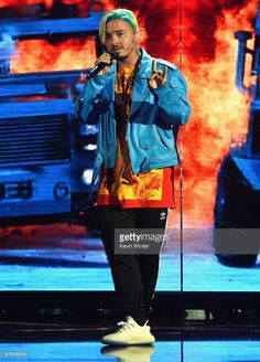c7511876edc Recording artist J Balvin performs onstage during the 2017 MTV Movie And TV  Awards Rehearsals at