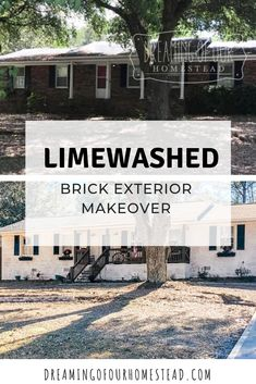 How we used Romabio limewash paint to transform our outdated red brick exterior home to a clean and modern looking brick home! Brick Exterior Makeover, White Wash Brick Exterior, Ranch Exterior, Exterior Remodel, Exterior Paint, Painted Brick Exteriors, Painted Brick Homes, Painted Brick Ranch, Brick Ranch Houses