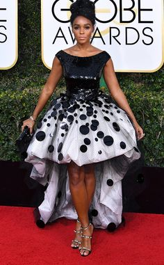 Janelle Monae in custom Armani Privé from 2017 Golden Globes Red Carpet Arrivals - it's out there, but suits this quirky celeb...and I love the shoes!