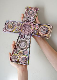 Rolled magazine cross. How cool is that!