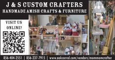 Check out all the homemade Amish crafts from J & S Custom Crafters. Visit them at The Greater Bridgeton Amish Market! Amish Market, Amish Crafts, Decoration, Handmade, Furniture, Amp, Check, Design, Home Decor
