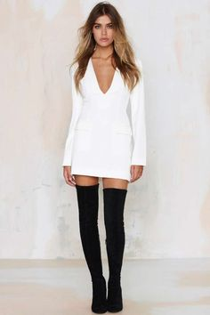 Nasty Gal Abbey Road Dress - Ivory - Best Sellers | Back In Stock | Going Out | LWD | Dresses | Dresses