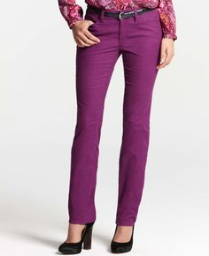 Ann Taylor - AT New Arrivals - Curvy Slim Corduroy Pants--I like the Rose Berry!