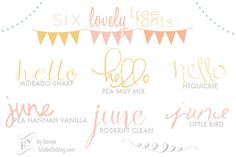 L U L A B E L L E: Six Lovely FREE fonts! What I Love: Morado sharp and Pea Hannah Vanilla