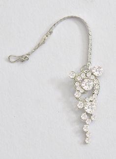 Shining Silver Aqua Maang tikka India Jewelry Middle East