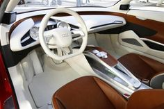 The interior of the Audi E-tron electric concept car alternative fuel vehicle at the L.A. Auto Show in Los Angeles, December 2009