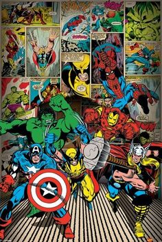 Superhero posters - Marvel posters: Marvel poster featuring a selection of superheroes heroes from Marvel Comics. Among those featured are Spiderman, Captain America, Thor, The Hulk & Iron Man. Ms Marvel, Marvel Avengers, Marvel Comics Superheroes, Marvel Art, Marvel Heroes, Captain Marvel, Captain America, Punisher Marvel, Daredevil
