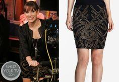 Charlotte Grayson (Christa B. Allen) wears this beaded pencil skirt in this week's episode of Revenge.