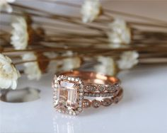 Hey, I found this really awesome Etsy listing at https://www.etsy.com/listing/232433313/3pcs-ring-set-emerald-cut-14k-rose-gold