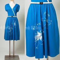 Vintage 70s Dress Cobalt Blue White Floral Aline Dress by TrendyHipBuysVintage, $39.00